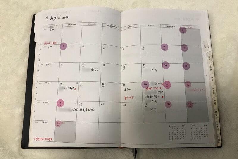 EDiT手帳、月間スケジュールの使い方