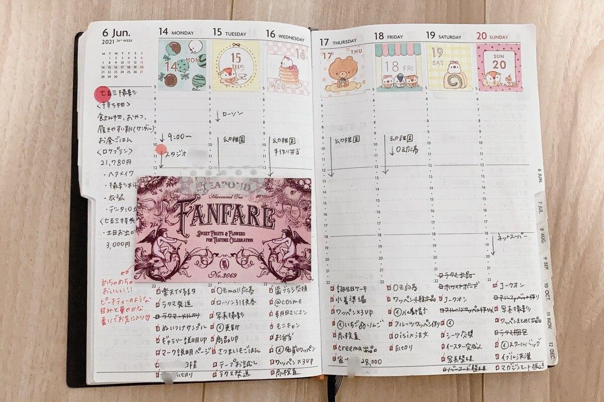 手帳の週間ページの書き方・使い方